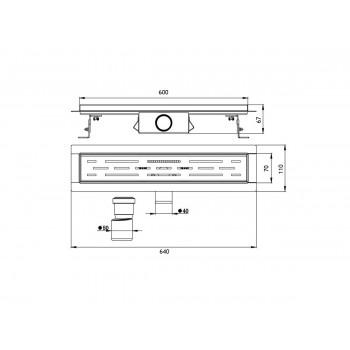 Трап лотковый ORE Drain H1 600х70х67мм слив 40 мм