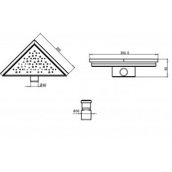 Трап треугольный ORE Drain T2 250х250х355 мм слив 40 мм